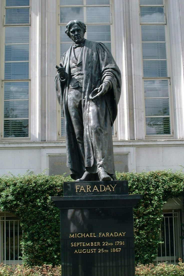 This statue of the scientist Michael Faraday stands outside the IET London, Savoy Place. It is a bronze copy of a marble original by J. H. Foley 1874 at the Royal Institution. Faraday holds an induction ring in his right hand.