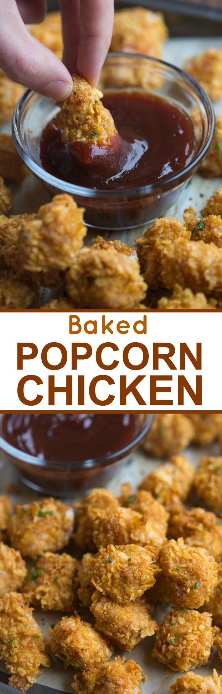 Crispy on the outside, juicy on the inside, Baked Popcorn Chicken, served with your favorite dipping sauce!   Tastes Better From Scratch