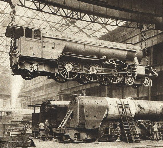 BW photograph from 1935, vintage steam train engine, train workshop, the Pacific train engine, train construction  via Etsy.