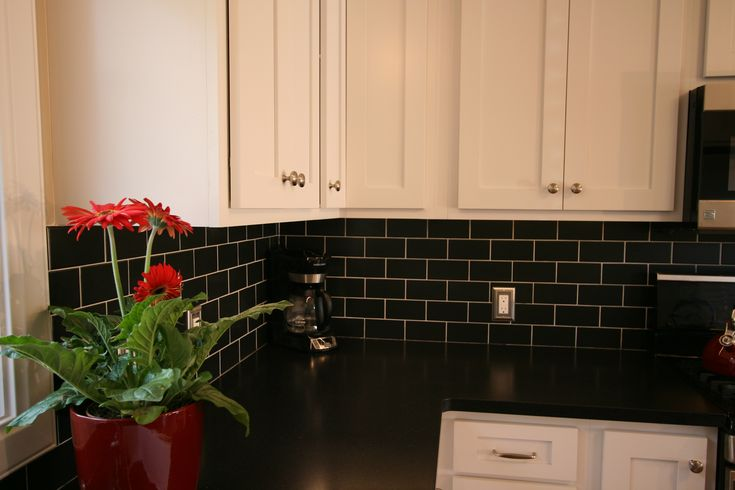 White Cabinets Black Subway Tile Black Granite Countertops Timeless My Kitchen Designs