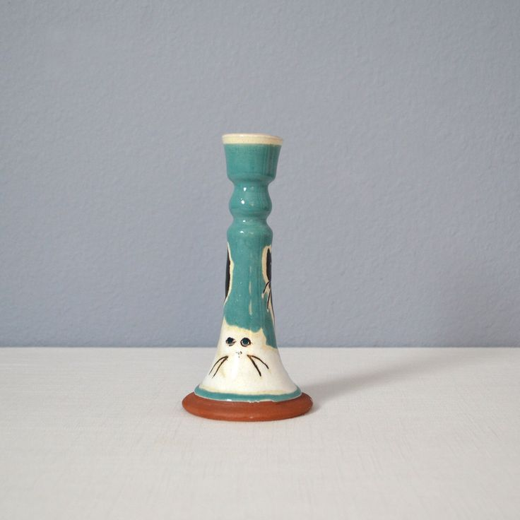 Olaria Nova Hand Painted Candle Holder with Cats by MidModMomStore on Etsy https://www.etsy.com/listing/294374333/olaria-nova-hand-painted-candle-holder