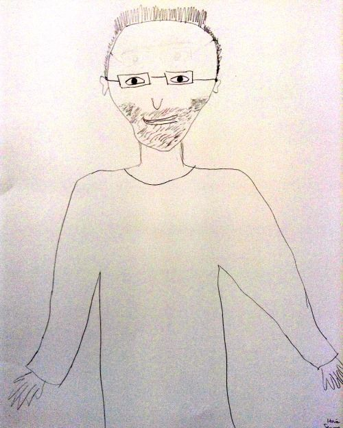 Jenny's drawing of a friend, from memory, before taking the course.