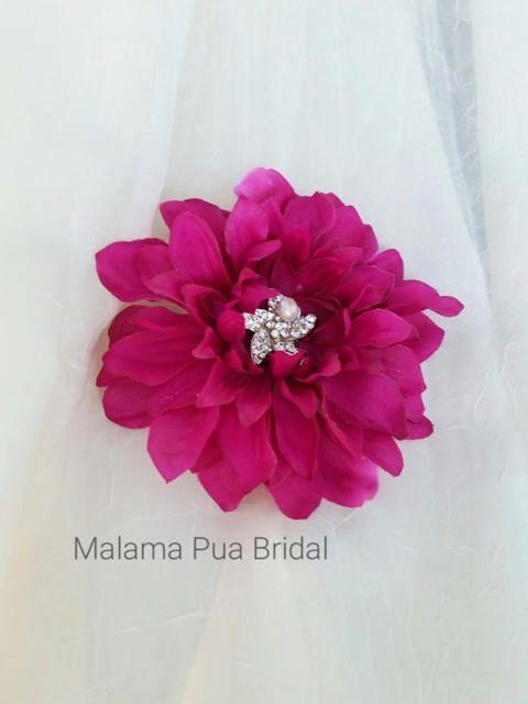 WEDDING HAIR CLIP, Silk flowers, hair clip, Starfish Wedding hair piece, Bridal headpiece, Tropical Fuchisa, Fascinator, Beach, Hawaiian by MalamaPuaBridal on Etsy