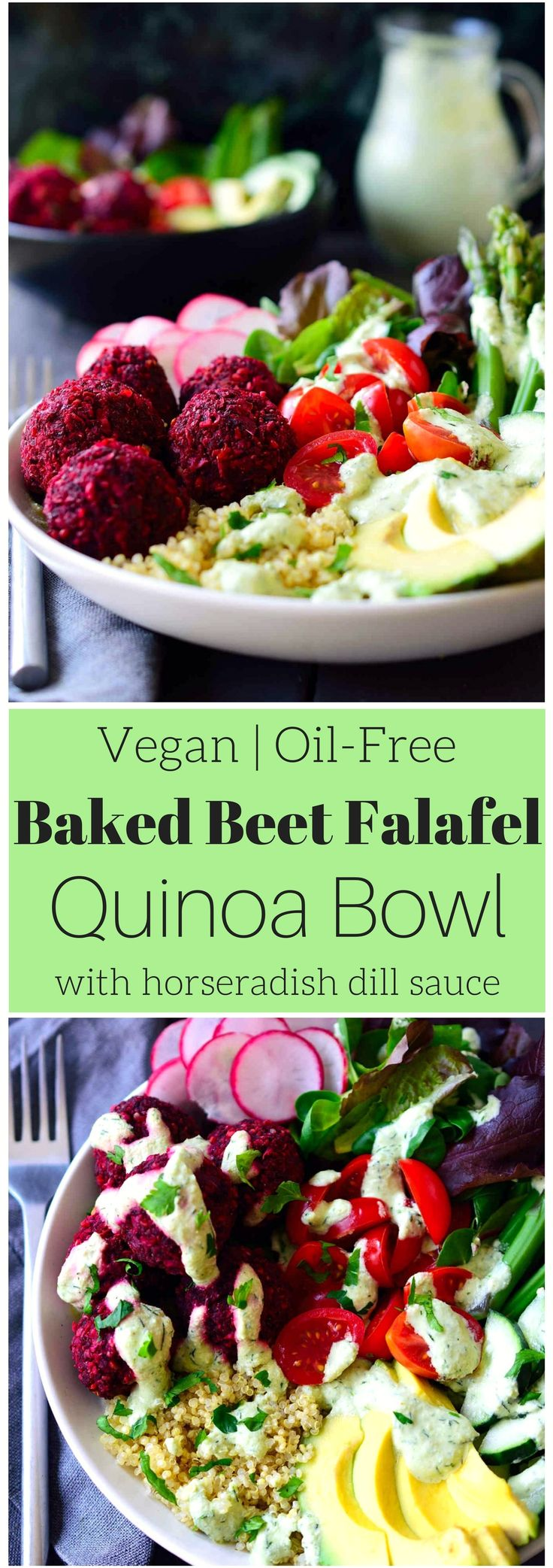 You'll get a whole, balanced and filling meal in just one dish with this baked beet falafel vegan quinoa bowl with horseradish dill sauce. Beet falafel is a great twist on traditional falafel with the same great taste and an extra dose of veggies. They're baked rather than fried for a healthier and oil-free recipe and served on a bed of quinoa and a mix of delicious raw and lightly cooked vegetables.