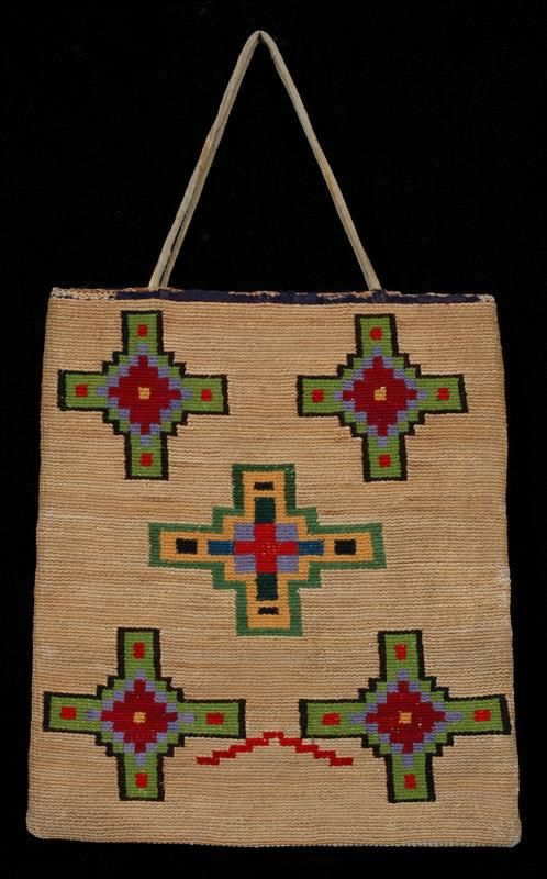 "Nez Perce Corn Husk Bag ca. 1910, Geometric Design 10 1/4"" H. 9 1/2"" W. Fine Condition"