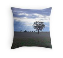 Lone Tree and a Curtain of Sunrays - Boort, Victoria Throw Pillow