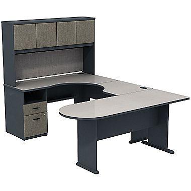 Bush Business Furniture Series A U Shape Desk Office Suite Finish: White  Spectrum/Slate
