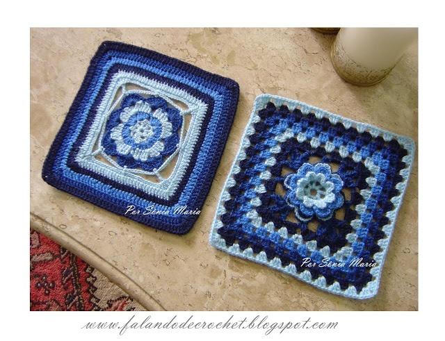 QUADRADINHOS DE CROCHÊ (CROCHET SQUARE): Crochet Granny, Crochet Ideas, Granny Squares Motif, Crochet Crochet, Knits Crochet, Granny Squaresmotif, Mycrochet Blue, Crochet Squares, Crochet Inspiration