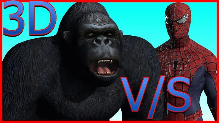King Kong Vs Spider Man Cartoon Short Flim HD | Gorilla Attacking Spider...