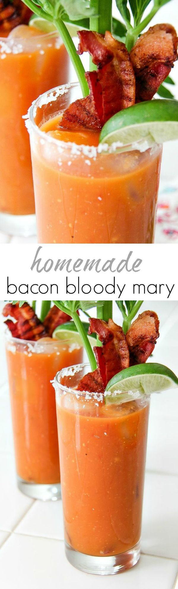 A homemade, from scratch, Bacon Bloody Mary cocktail that is the perfect beverage for summer brunch #donthesitaste #sponsored