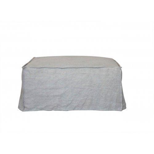 Linen Slip cover Ottoman - Taupe