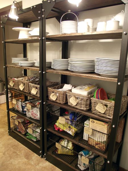 Organizing Open Shelves - great place to use baskets!