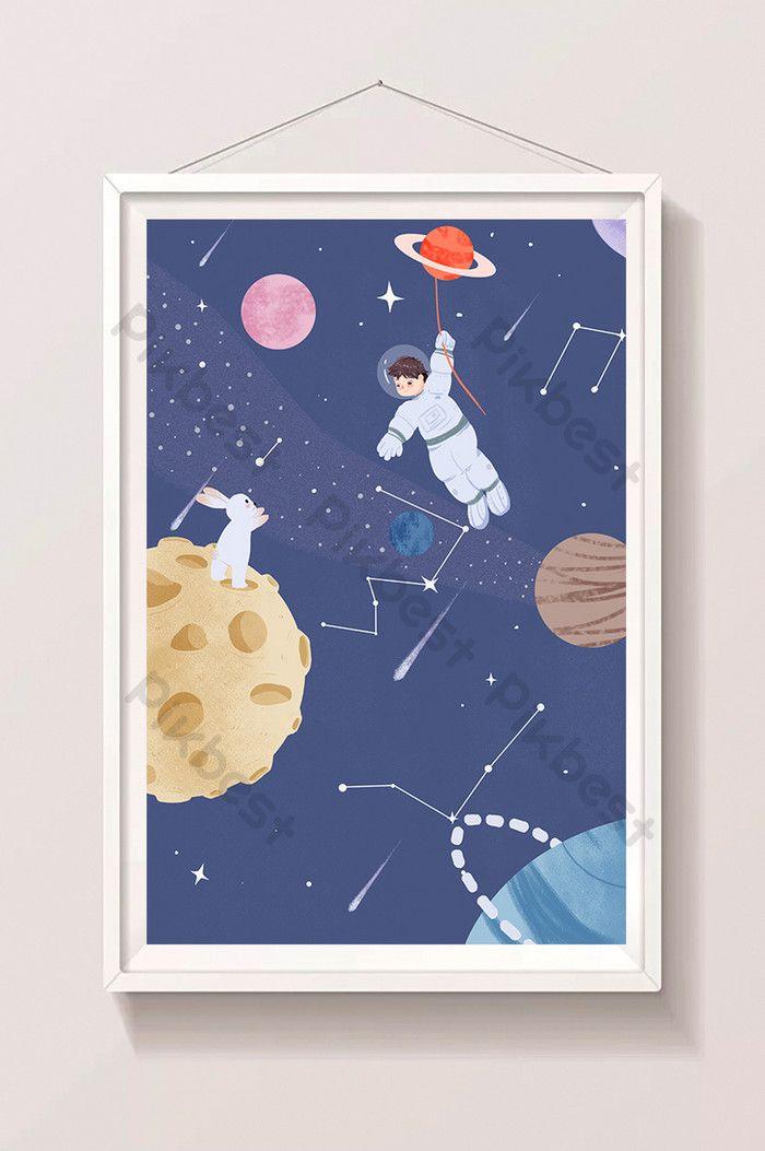 الكرتون شقة الإنسان يوم القمر رائد فضاء هبوط التوضيح الرسم التوضيحي Psd تحميل مجاني Pikbest Tablet Electronic Products