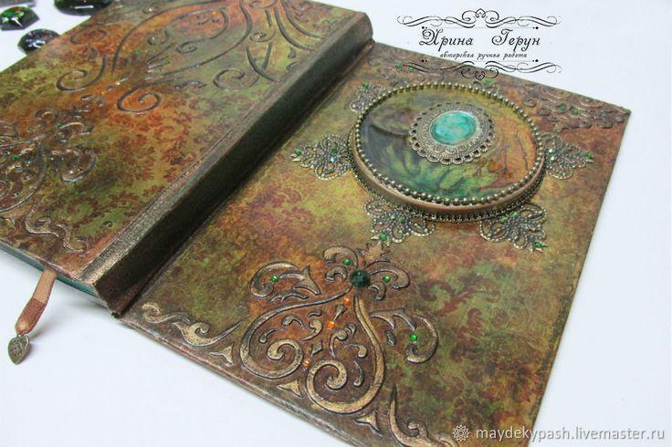 """Купить Ежедневник """"Желание души"""".  Работа на заказ - Декупаж, ежедневник, зеленый, коричневый, подарок"""