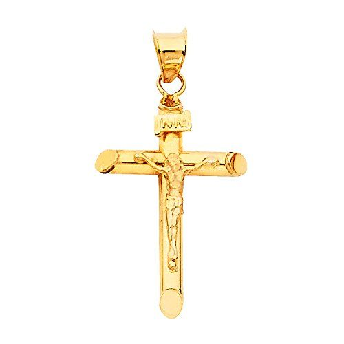 GoldenMine Fine Jewelry Collection 14k Yellow Gold Religious Crucifix Pendant