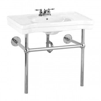 Item #15516 : Console Sink Belle Epoque White China Chrome Wall Mount