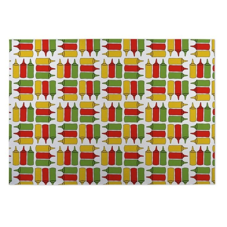 Kavka Designs Red/ Yellow/ Green Be Mine Plaid 2' x 3' Indoor/ Outdoor Floor Mat (Red - N/A - Novelty) (Polyester)