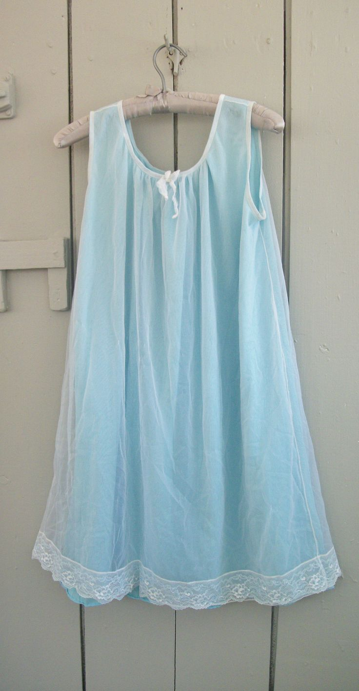Vintage 60s 70s Baby Blue Chiffon Sissy Nightgown Lingerie