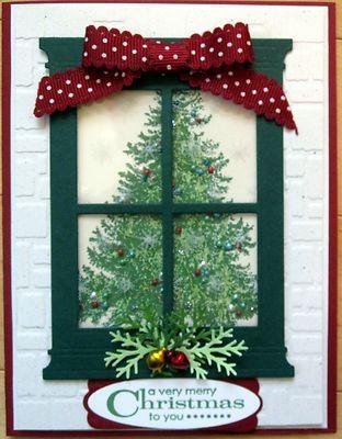 Stampin Up Card Kit Holiday Tree Christmas Lodge Handmade Window Season
