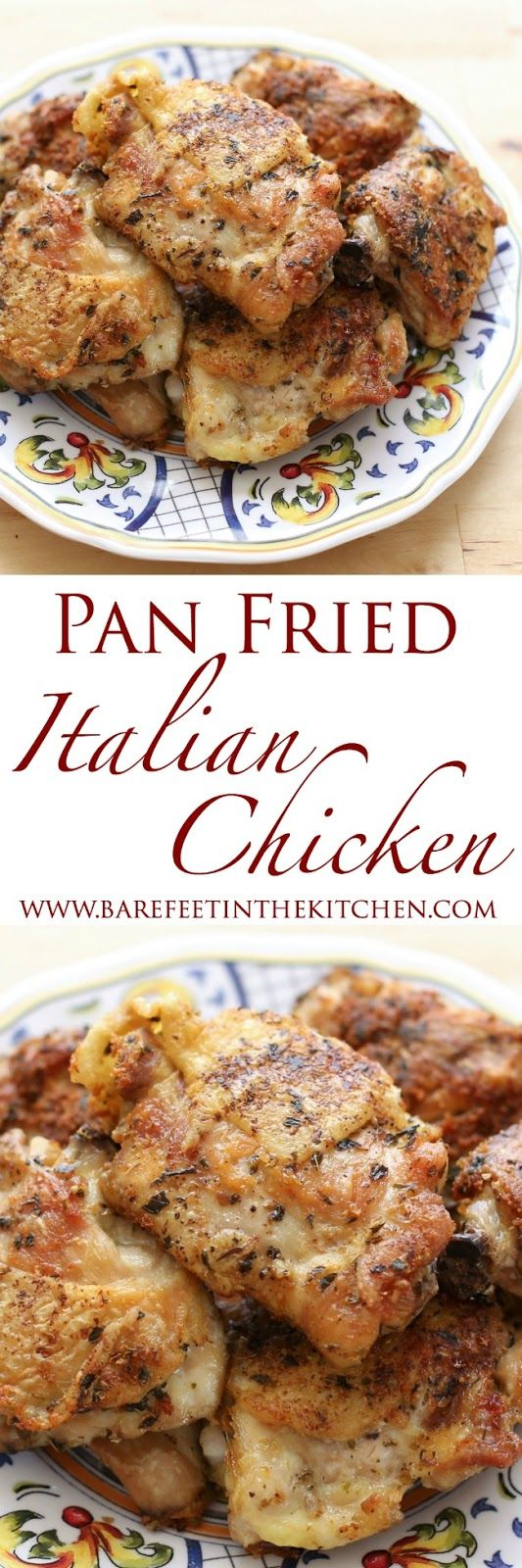 EASY Pan-Fried Italian Chicken is made with just 1 tablespoon of oil! Get the recipe at barefeetinthekitchen.com