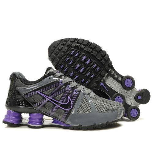 Nike Shox Agent+ Grey Black Purple Women Shoes $79.59