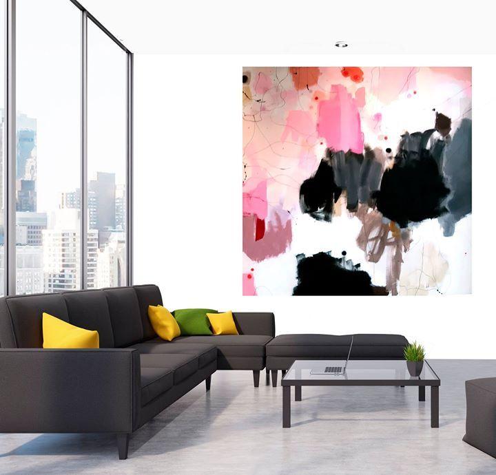 Nyt maleri WANNA STAY IN BED 2X2 meter. Jeg har forsøgt (med ringe evner) at tage et godt foto men det er svært at få de små detaljer med :-) Her kan du se hvordan maleriet tager sig ud i et virtuelt rum - der skal lidt til for at huse et så stort maleri :-D #bjerker