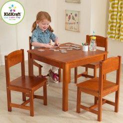 Boerderijtafel en 4 stoelen noten- Kidkraft 21451
