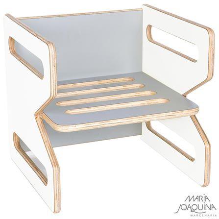 Imagem para Cadeira Infantil Cubo Branco e Cinza Cobalto - Maria Joaquina a partir de Fast Shop