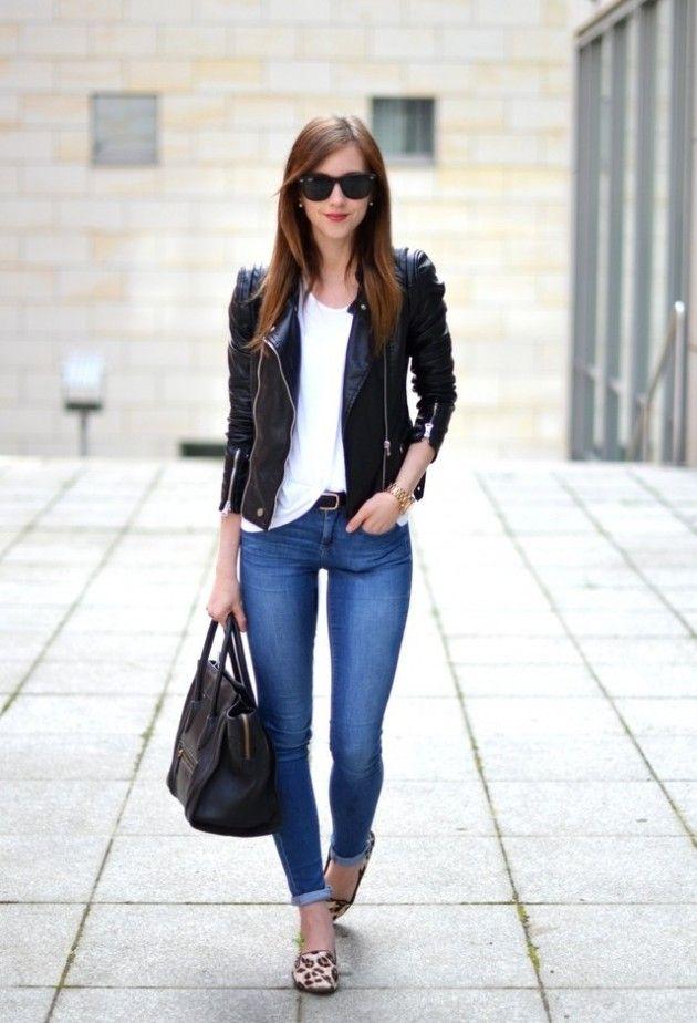 Resultado de imagen para leather jacket outfit