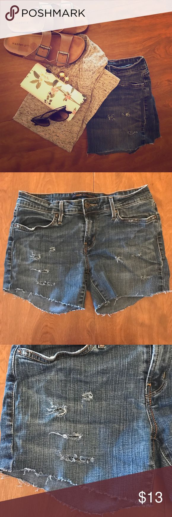 """Destroyed Levi's Shorts **HOMEMADE** I enjoy making shorts out of my old jeans for myself and others, so this is pair I had extra. These were super cute Leggings in size 8 (also feels like a 6) that I have cut and made into shorts. These shorts have a 3"""" inseam, and are of stretchy material. They are super cute, but I have way to many. All offers accepted. Levi's Shorts Jean Shorts"""