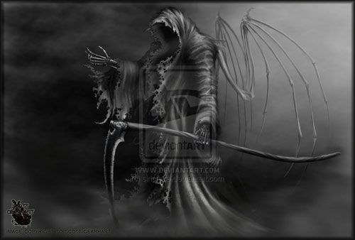 angel of death aka grim reaper drawing illustration