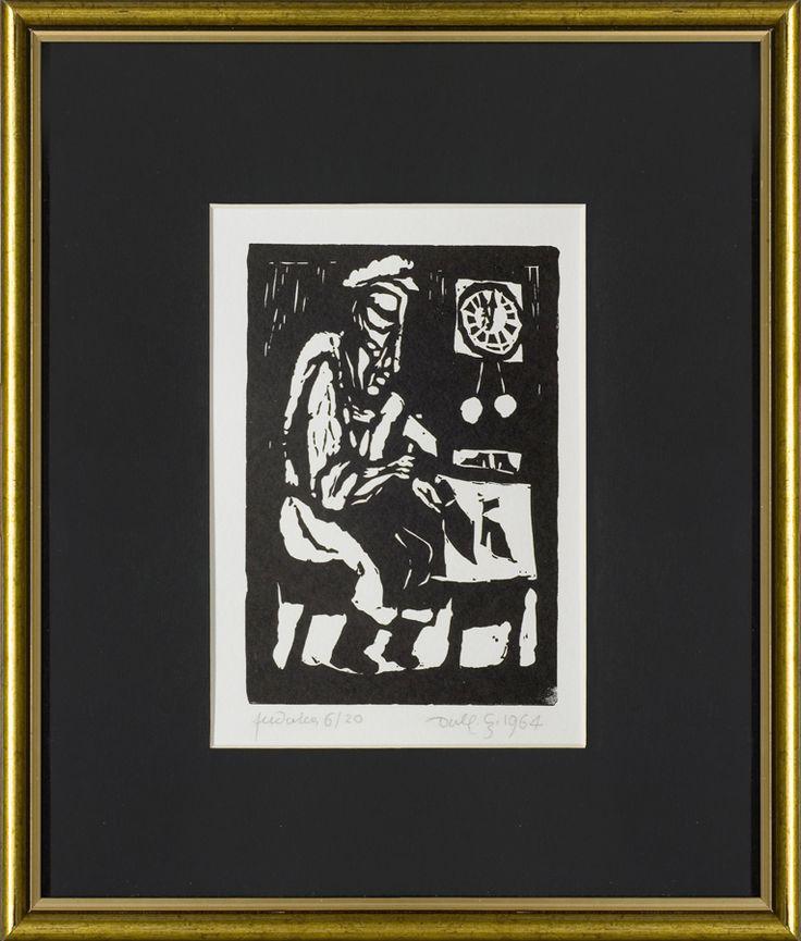 Jerzy Duda Gracz | BIJ MŁOTECZKU BIJ, Z CYKLU JUDAICA, 1964 | linoryt, papier | 16.4 x 12.2 cm