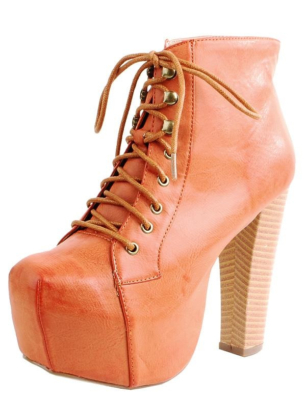wooden heel bootie @ www.makemechic.com/p-43324-step-laced-wooden-heel-ankle-boots-orange.aspx
