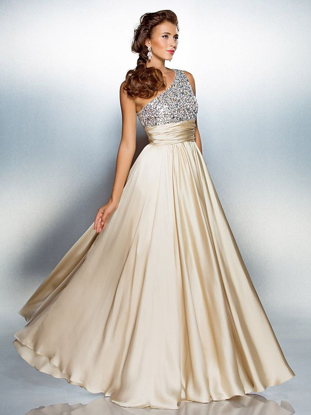 Vestido de Noche/Baile de Promoción de Satén con Corte en Columna Hasta el Suelo y Sobre un Hombro   LightInTheBox