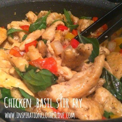 Chicken Basil Stir Fry | yummy.savory | Pinterest | Stir fry, Chicken ...