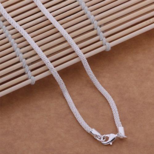 Donna-925-Argento-Sterling-morbido-fine-intrecciato-Serpente-Catena-Fashion-Casual-Costume