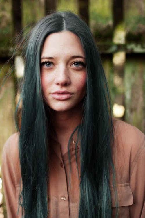Gorgeous green on dark hair, simply stunning.
