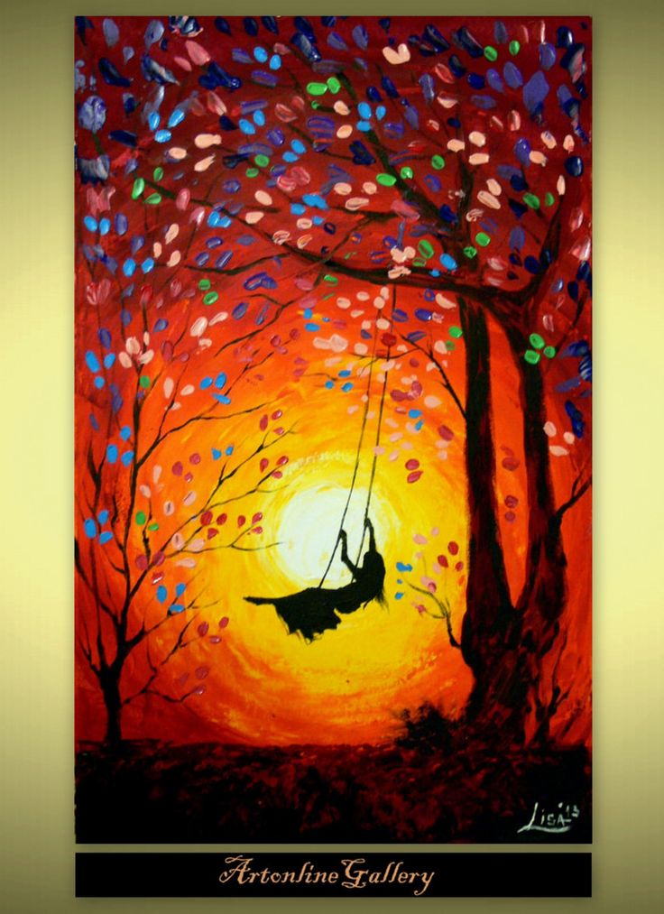 Girl on swing at sunset silhouette sunsets pinterest for Modern painting ideas