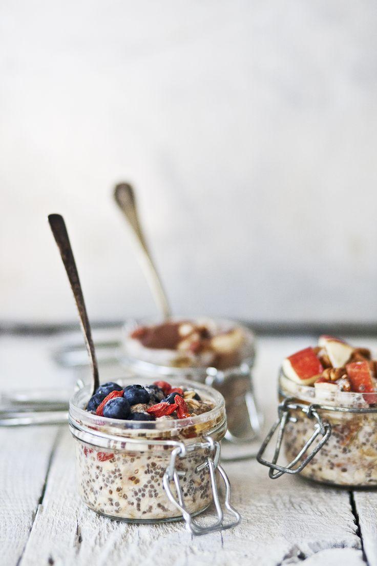 overnight oatmeal with bananas & hazelnuts / blueberries & goji berries / apple & pecan nuts
