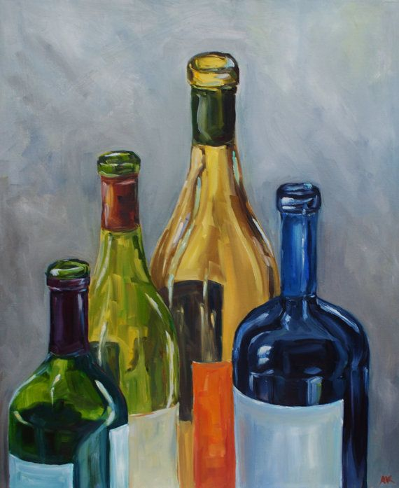 Empty wine bottles still life oil painting by for Empty wine bottles