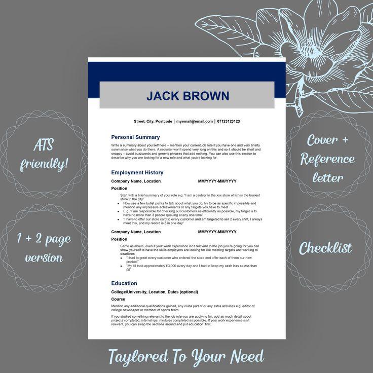 ATS Friendly CV Resume Template, Resume Template Recruiter