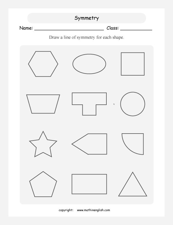 Line Of Symmetry Worksheet For each shape draw a line of symmetry ...
