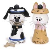 cats dogs clay pot treat dispensers