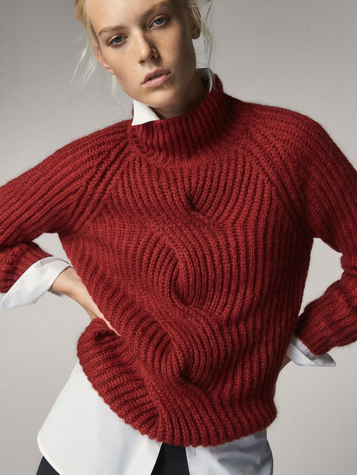 Fall Winter 2017 Women´s MOHAIR SWEATER WITH MOCK POLO NECK at Massimo Dutti for 120. Effortless elegance!