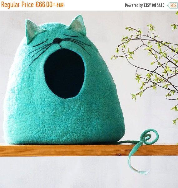 Cueva de gato de la casa/Felted cueva gato gato cama gato