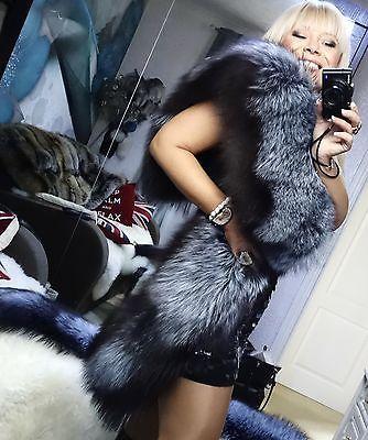 HOLLYWOOD glam argent bleu SAGA renard fourrure de luxe designer étole wrap xl look!