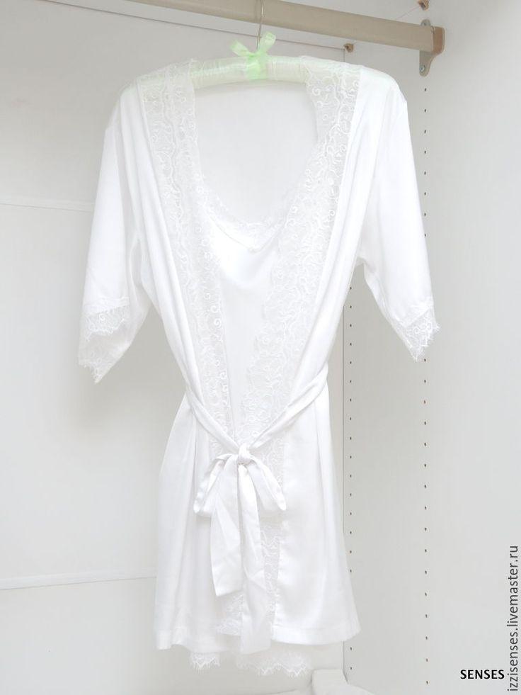 Купить Шелковый пеньюар Воздушные сны из шелка с французским кружевом - шелковый пеньюар, утро невесты