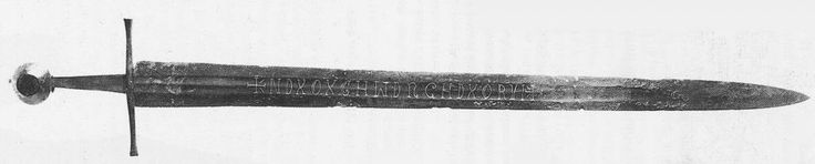 This double-edged sword was found in the River Witham near Lincoln. It is an extremely well preserved example of the type of sword which was common from about 1300.  Overall length: 960 mm Blade length: 815 mm  Read more: http://sword-site.com/thread/273/oakeshott-type-medieval-sword-circa#ixzz3YmPZk0x5