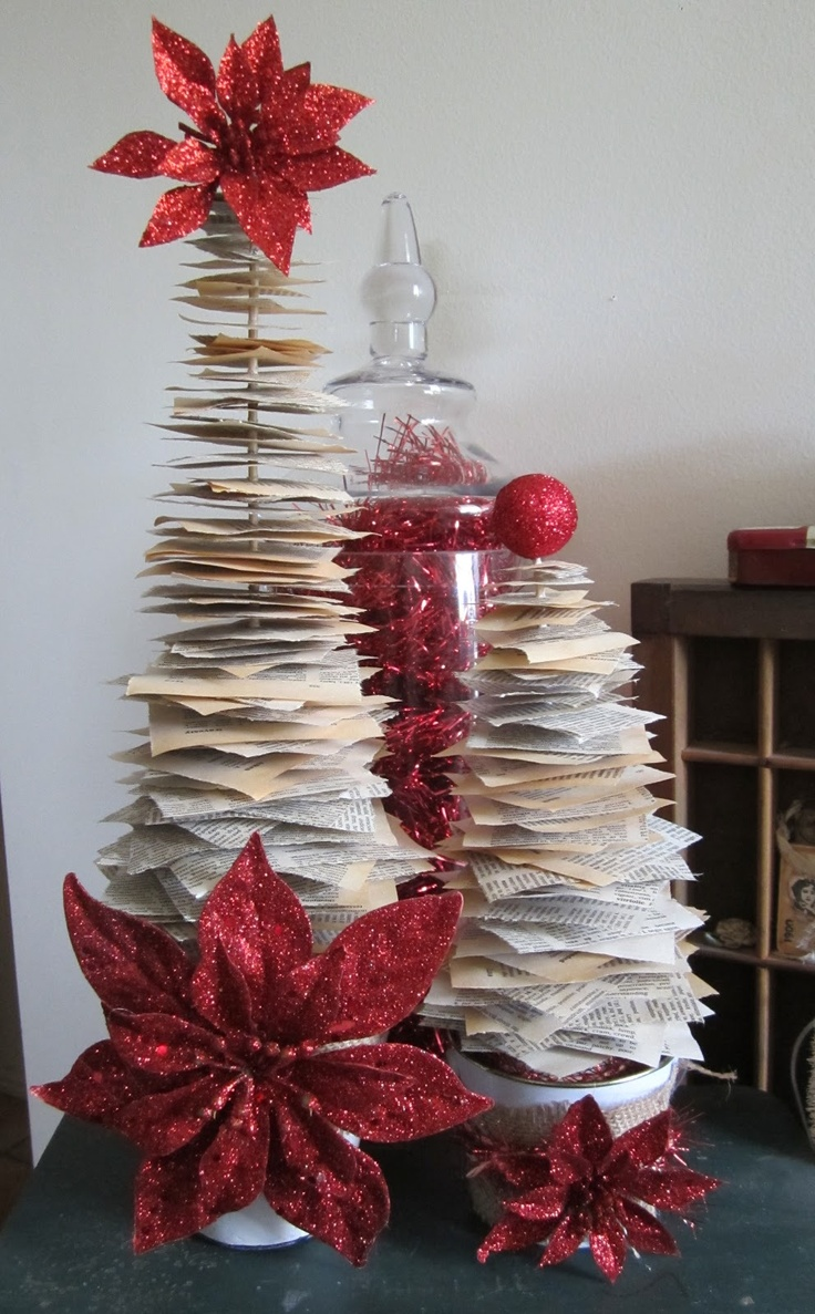 kerrie gurney [it's all about ME]:   Old Book Paper Christmas Trees