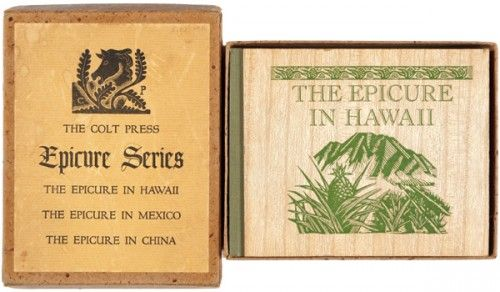 EPICURE SERIES. The Epicure in Hawaii, The Epicure in Mexico, and The Epicure in China.  San Francisco. The Colt Press.. 1938 - 1940. #cookery